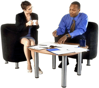 Photo of a meeting between two business professionals